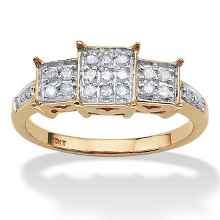PalmBeach 1/6 TCW Round Diamond Square-Shaped Ring in 10k Yellow Gold