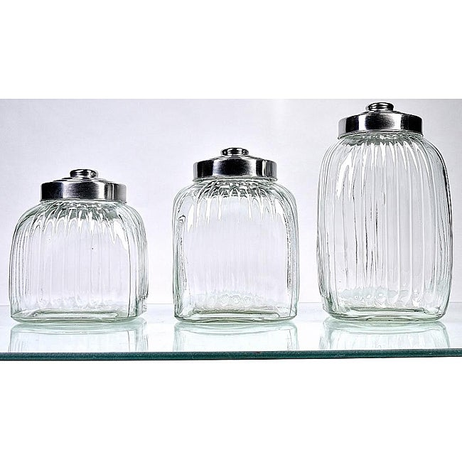 square glass canisters pack of 3 13576136 overstock