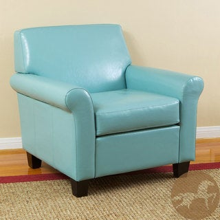 Christopher Knight Home Oversized Teal Blue Bonded Leather Club Chair