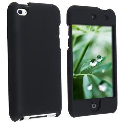 Snap-on Black Rubber-coated Case for Apple iPod touch 4th Gen