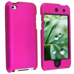 Snap-on Hot Pink Rubber-coated Case for Apple iPod touch 4th Gen