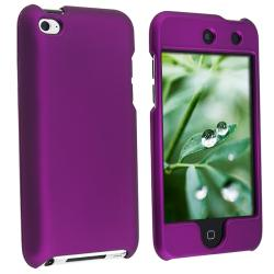 Snap-on Dark Purple Rubber-coated Case for Apple iPod touch 4th Gen