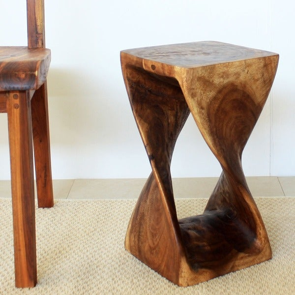 10 Inches Square x 18-inch Monkey Pod Wood Walnut Oil 18-inch Twist Stool (Thailand)