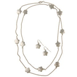 Silvertone Daisy Necklace and Earring Set