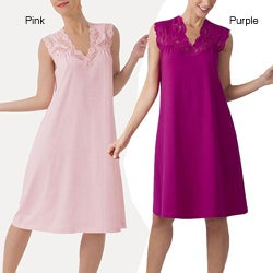Ilusion Women's Pink Cotton Cap-sleeve Nightgown
