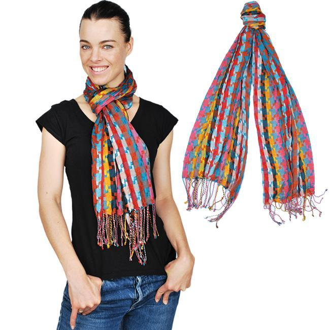 Multicolor Fringed Scarf (India)