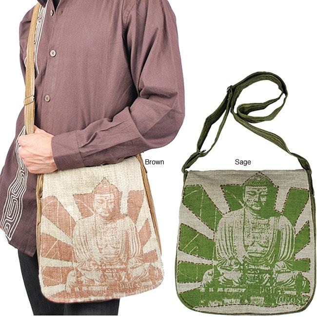 Hemp and Cotton Buddha-print Messenger Bag Handmade in Nepal