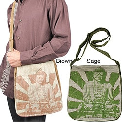 Hemp and Cotton Buddha-print Messenger Bag Handmade in Nepal