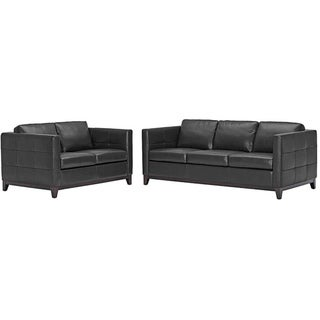 Rohn Black Leather Modern Loveseat and Sofa Set