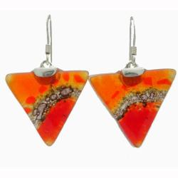 Sterling Silver Fire Triangle Glass Earrings (Chile)