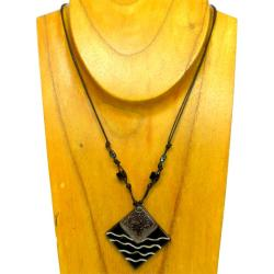 Cotton Cord and Black Fused Glass Rhombus Wave Necklace (Chile)