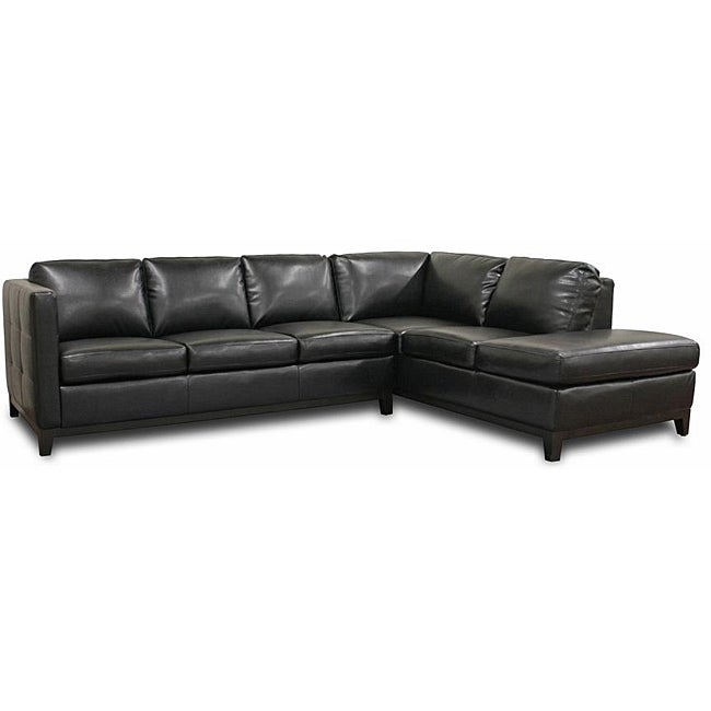 rohn black bonded leather modern sectional sofa 13579902 overstock. Interior Design Ideas. Home Design Ideas
