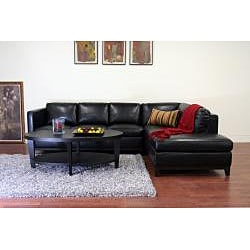 Rohn Black Bonded Leather Modern Sectional Sofa