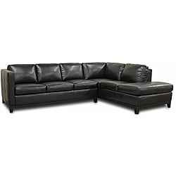 Rohn Black Leather Modern Sectional Sofa