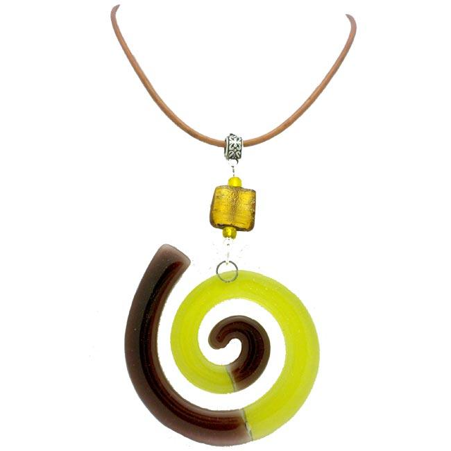 Cotton Cord and Yellow Fused Glass Big Swirl Necklace (Chile)