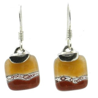 Sterling Silver Caramel Mini Glass Square Earrings (Chile)