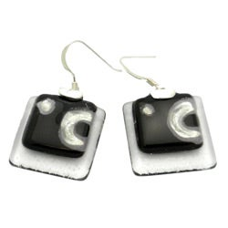 Sterling Silver Ethereal Silver/ Black Stacked Squares Earrings (Chile)