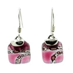 Sterling Silver Strawberry Highway Mini Glass Square Earrings (Chile)