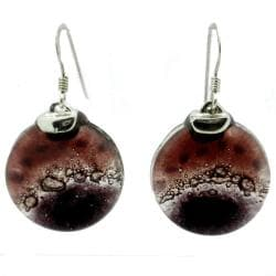 Sterling Silver Ripe Plum Fused Glass Earrings (Chile)