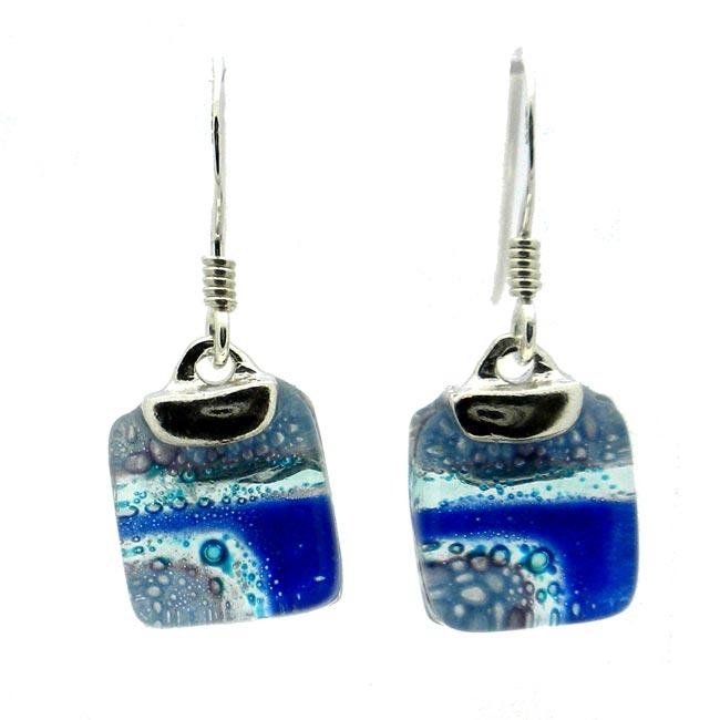 Sterling Silver Blue Highway Mini Glass Square Earrings (Chile)