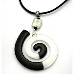 Cotton Cord and Black and White Fused Glass Big Swirl Necklace (Chile)