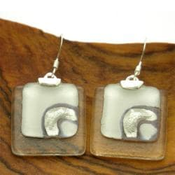 Silver Ethereal Silver and White Stacked Squares Earrings (Chile)