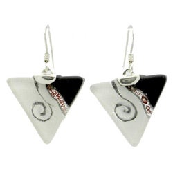 Sterling Silver Black and White Swirl Triangle Glass Earrings (Chile)