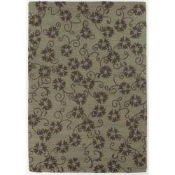 Hand-Tufted Green Floral Mandara New Zealand Wool Rug (5' x 7'6)