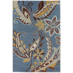 Hand-Tufted Multicolor Transitional Mandara New Zealand Wool Rug (5' x 7'6)