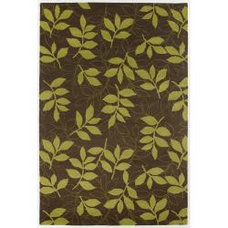 Hand-Tufted Green Leaf Mandara New Zealand Wool Rug (5' x 7'6)