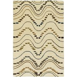Hand-Knotted Contemporary Mandara New Zealand Wool Rug (7'9 x 10'6)