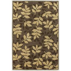 Hand-Tufted Brown/Gold Mandara New Zealand Wool Rug (7'9 x 10'6)