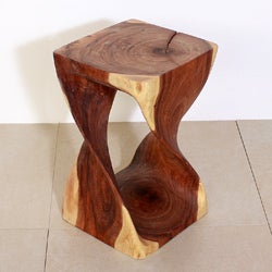 12 Inches Square x 20-inch Monkey Pod Wood Twist Oak Oil End Table (Thailand)