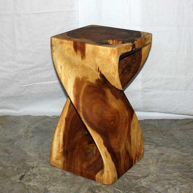 12 inches square x 20 inch monkey pod wood twist oak oil for 12 inch accent table