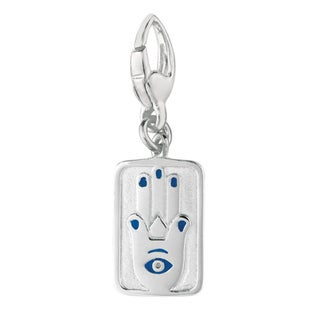 Sterling Silver and Blue Enamel Chamseh Good Luck Hand Charm