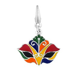 Sterling Silver and Enamel Venetian Carnival Mask Charm