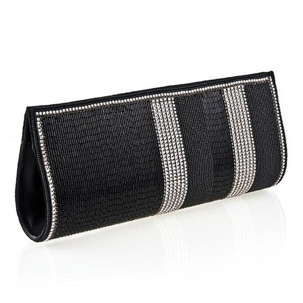 Hand-embroidered Black Fabric Hand Bag (India)
