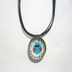Owl Bottle Cap Necklace