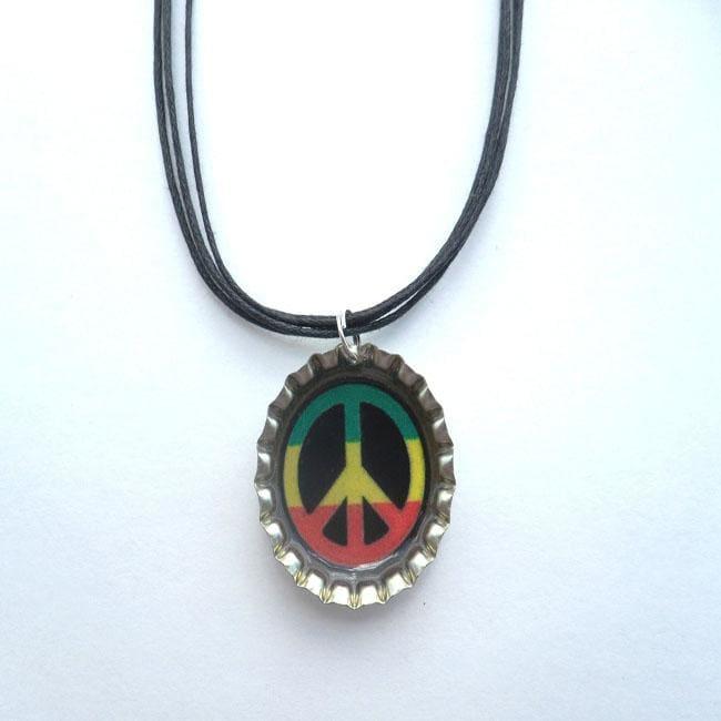 Peace Sign Bottle Cap Necklace