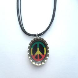 Peace Sign Bottle Cap Necklace