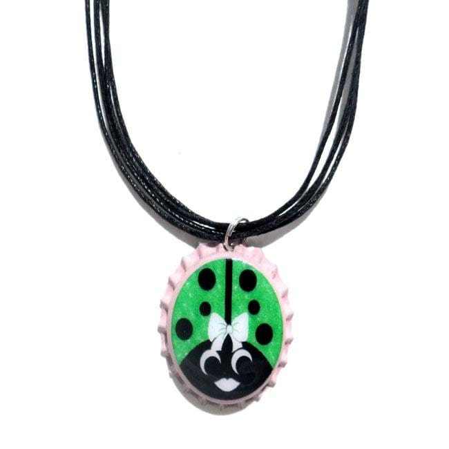 Hot Pink and Green Ladybug Bottle Cap Necklace