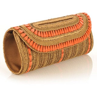 Fabric and Antique Embroidery with Coral Stones Patna Clutch (India)