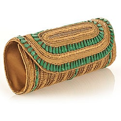 Fabric and Antique Embroidery with Malecite Stones Patna Clutch (India)