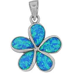 Sterling Silver Created Blue Opal Plumeria Pendant