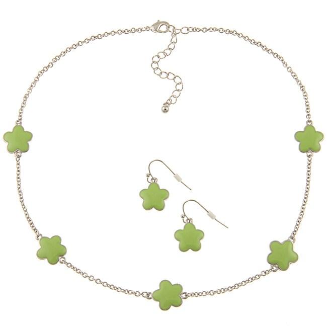 Silvertone Green Enamel 16-inch Daisy Necklace and Earring Set