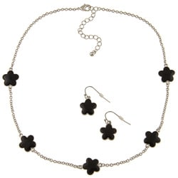 Silvertone Black Enamel 16-inch Daisy Necklace and Earring Set