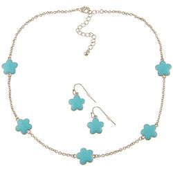 Silvertone Turquoise Enamel 16-inch Daisy Necklace and Earring Set