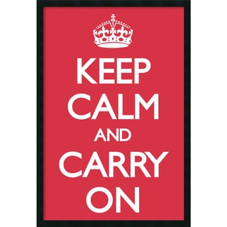 Vintage Repro 'Keep Calm (Red)' Framed Art Print with Gel Coated Finish