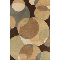 Hand-tufted Brown Metro Circles Wool Rug (4' x 6')