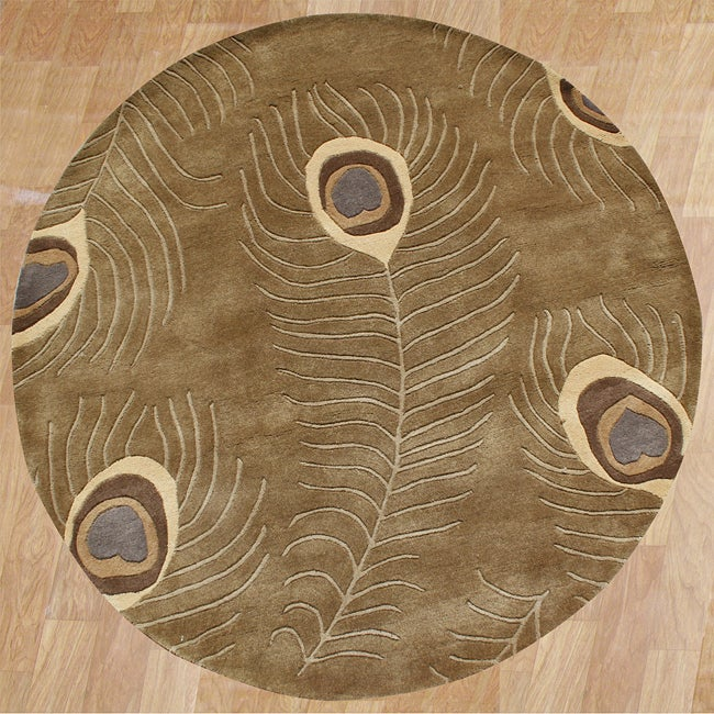 Alliyah Handmade Brown Peacock Wool Rug (6' Round)